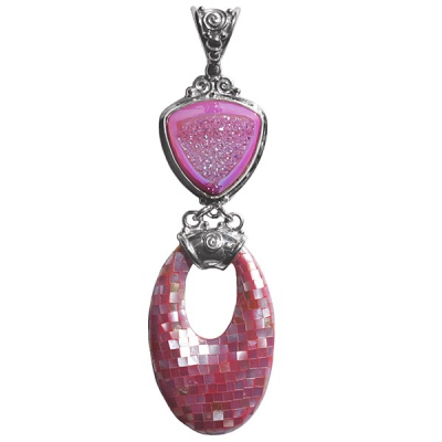 Pink Window Druzy Pendant with Mosaic Shell