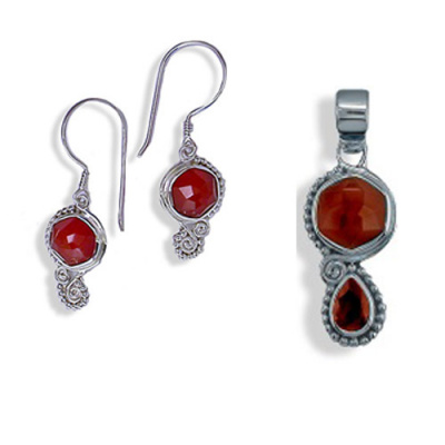 Faceted Carnelian Earring and Carnelian and Garnet Pendant Set