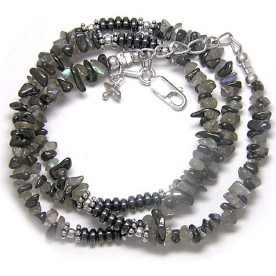 Hematite and Labradorite Beaded Necklace