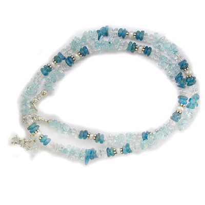 "Apatite, Blue Topaz, Crystal, and Pearl Necklace 18"" + 2"""