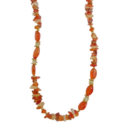 Carnelian, Citrine & Hessonite Garnet Bead Necklace