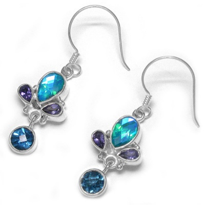 Rainbow Teal Quartz Earrings with London Blue Topaz and Iolite