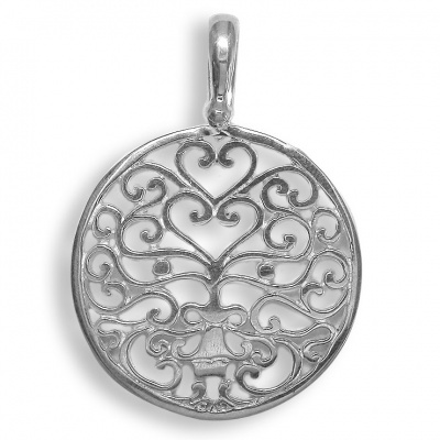 Sterling Silver Hand-Crafted Cutout Bali Face Open Pendant