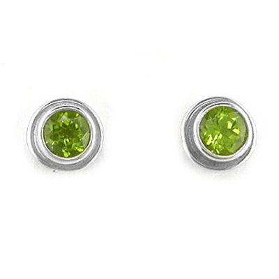 Faceted Round Peridot Post Earrings