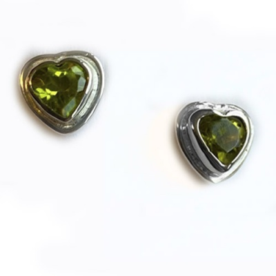 Faceted Peridot Heart Post Earrings