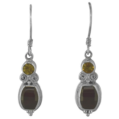 Faceted Garnet Dangle Earrings with Citrine