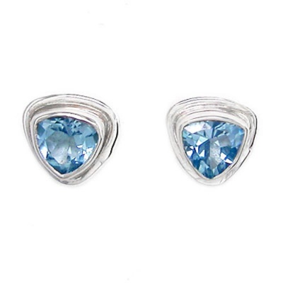 Trillion Blue Topaz Silver Post Earrings