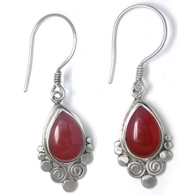Carnelian Pear Dangle Earrings