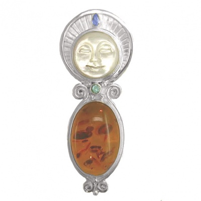 Mother of Pearl Goddess Pin-Pendant with Amber, Apatite and Tanzanite