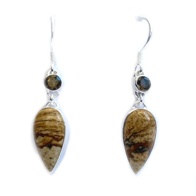 Picture Jasper Pear Earrings with Smoky Quartz