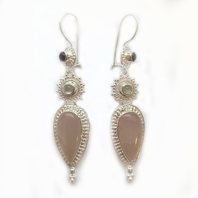 Rose Quartz, Moonstone and Amethyst Latch-Back Earring