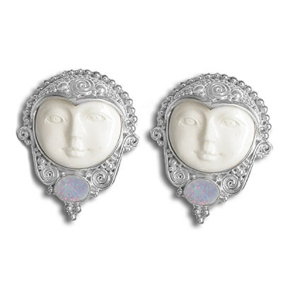 Handcrafted Goddess Clip Earrings with Opal Doublets