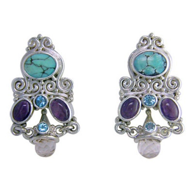 Turquoise Earrings with Blue Topaz, Amethyst, and Pink Opalite