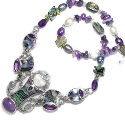 Multi Gemstone Goddess Necklace with Paua Shell & Charoite