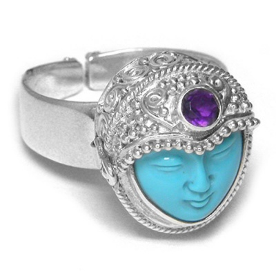 Turquoise Goddess Locket Ring with Amethyst