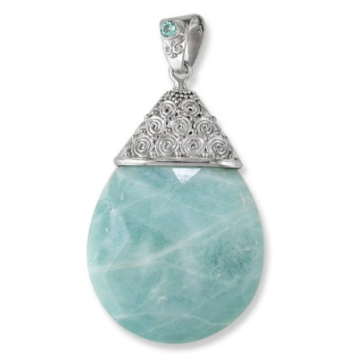 Aqua Calcite Pendant with Apatite