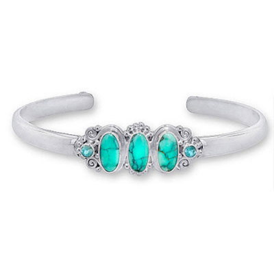 Turquoise and Sky Blue Topaz Cuff Bracelet