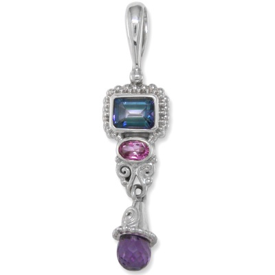 Neptune and Passion Pink Topaz Pendant with Amethyst