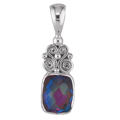 Rainbow Lavender Quartz Cushion Cut Silver Pendant