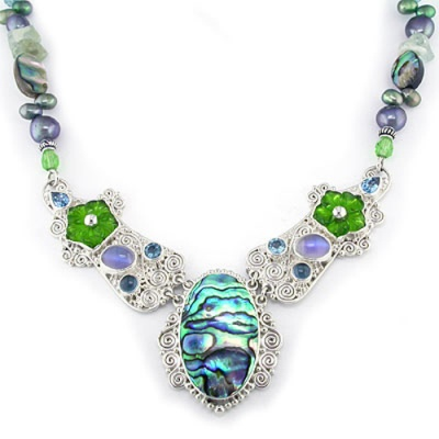 Paua Shell and Pearl Designer Necklace with Green Crystal Carved Flowers, Blue Topaz and Titanium Backed Moonstone