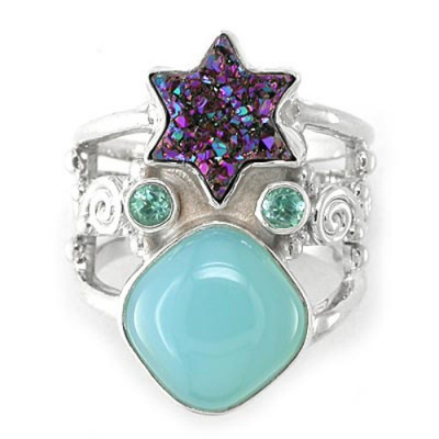 Caribbean Druzy Star Ring with Apatite and Ocean Blue Chalceony
