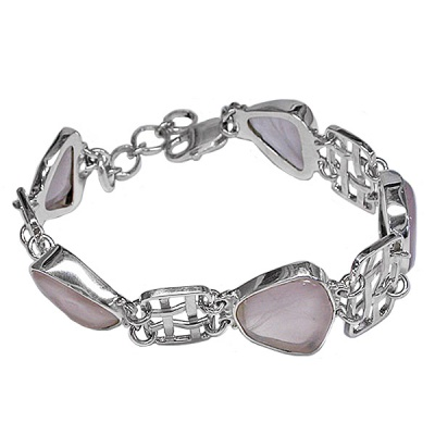 Free-form Rose Quartz Link Bracelet
