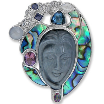 Fiber Goddess Pin-Pendant with Paua Shell & Gemstones