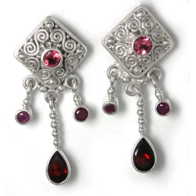 Pink Tourmaline, Ruby and Garnet Post Earrings