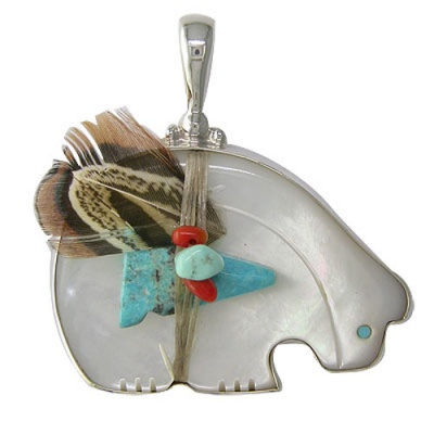 Mother of Pearl Bear Fetish Pendant with Turquoise Arrowhead, Coral & Turquoise