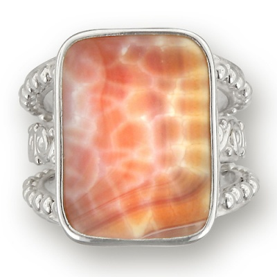 Fire Agate Rectangle Ring