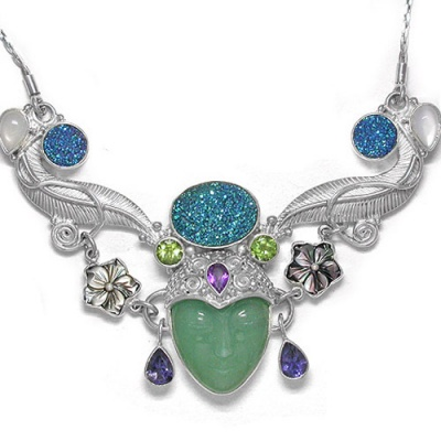 Aventurine Goddess Necklace with Druzy, Peridot, Amethyst, Moontone and Shell