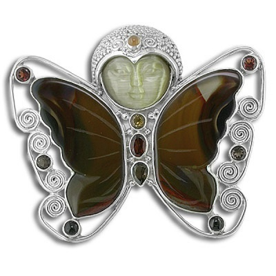 Gold Fiber Optic & Agate Butterfly Pin/Pendant