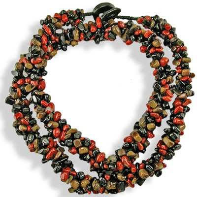 Red Jasper, Tiger Eye, Black Agate Chips Beaded Necklace