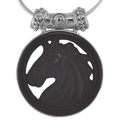 "Rainbow Obsidian Horse Pendant with 18"" Silver chain"