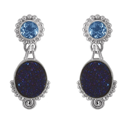 Midnight Sparkle Drusy and Topaz Post Earrings