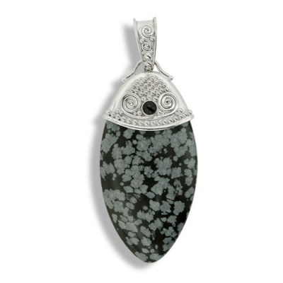 Snowflake Obsidian and Black Star Diopside Pendant