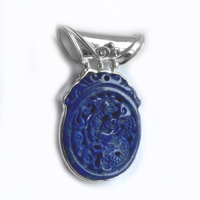 Lapis Dragon Pendant with Tube Bale