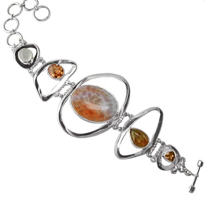 Fire Agate Multi-Gemstone Bracelet