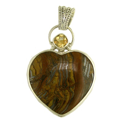 Tiger Iron Heart Silver Pendant with Citrine