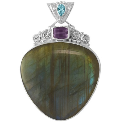 Labradorite Pendant with Amethsyt and Sky Blue Topaz