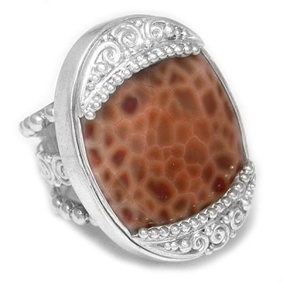 Faceted Fire Agate Ring