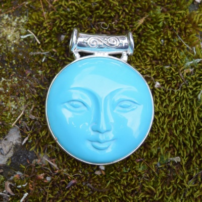 Reversible Turquoise Goddess & Mother of Pearl Pendant