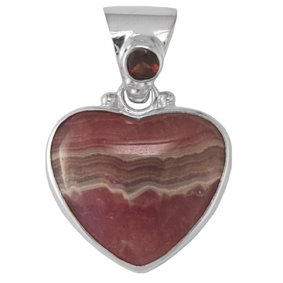 Rhodocrosite Heart Pendant with Garnet