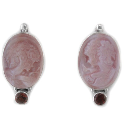 Pink Mother of Pearl Shell Cameo Earrings with Garnet