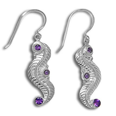 Hand-Crafted Amethyst Dangle Leaf Earrings