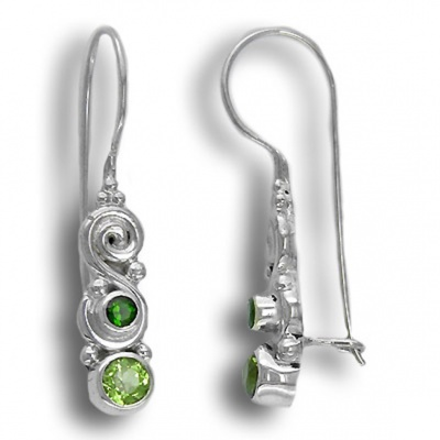 Peridot and Chrome Diopside Latchback Earrings