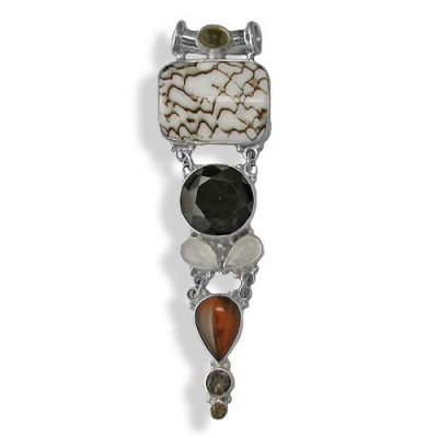 Shell Textile, Red Tiger Eye, Citrine, Smoky Quartz & Moonstone Pendant