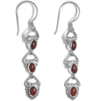 Triple Garnet Dangle Earrings