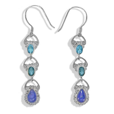 Swiss and London Blue Topaz Earrings with Lapis