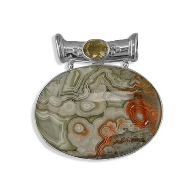 Mexican Crazy Lace Agate and Citrine Pendant